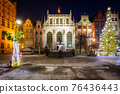 The Artus Court and fountain of the Neptune  with christmas tree, Gdansk. Poland 76436443