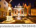 Christmas decorations in the old town of Gdansk at night, Poland 76436446