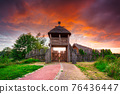 Beautiful sunset over the settlement of Trade Factory in Pruszcz Gdanski, Poland. 76436447