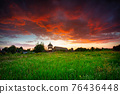 Beautiful sunset over the settlement of Trade Factory in Pruszcz Gdanski, Poland. 76436448