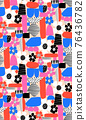 Floral abstract seamless pattern contemporary modern art. Repeating background shapes and flower 76436782