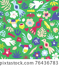 Cute birds Seamless kids vector pattern. Repeating background tropical birds flowers leaves fruit 76436783