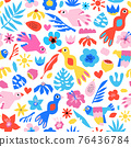 Seamless vector pattern tropical birds flowers leaves. Cute repeating children background pink blue 76436784