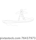 continuous one line drawing surfer vacation sea wave illustration vector. 76437973