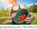 Woman farmer collects a harvest of ripe organic strawberries 76438526