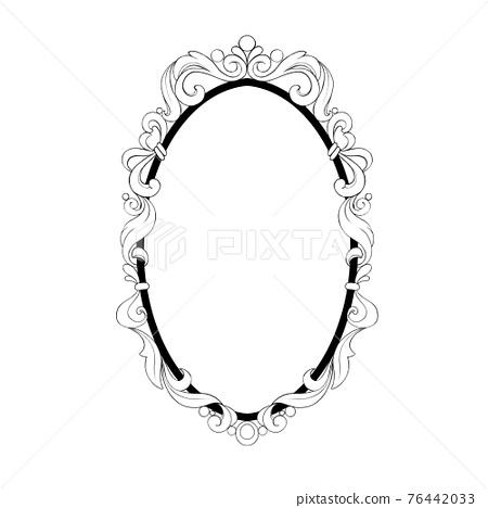 Vintage baroque frame. Decorative design element black and white 76442033