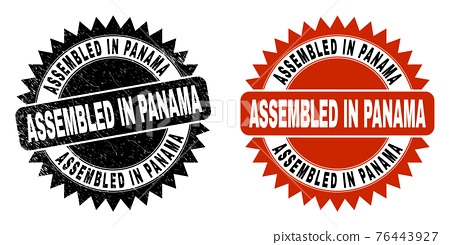 ASSEMBLED IN PANAMA Black Rosette Stamp Seal with Rubber Surface 76443927
