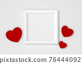 Valentines template blank card with frame and red tone color heart on red background 3d rendering. 3d illustration sweet heart and Valentines Day greeting card template minimal concept. 76444092