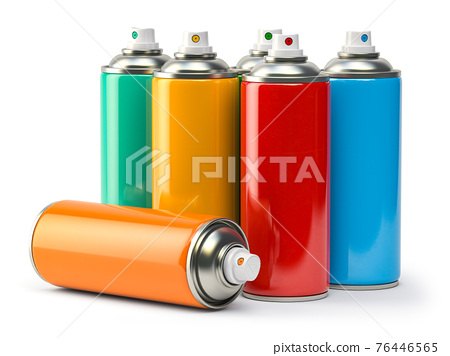 Colorful graffity spray paint cans or bottles of aerosol isolated on white. 76446565