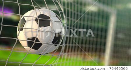 Goal. Soccer football ball scores a goal on the net. 76446566