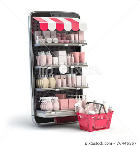 Cosmetics and beauty products buying online concept. Shopping basket with makeup products and mobile phone with shelves. 76446567