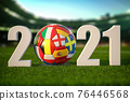 Euro 2021. Soccer Football ball with flags of european countries on the grass of football stadium. 76446568