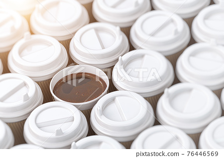 Coffee paper cups background. 76446569