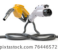 Electric vehicle EV charging plug and gas nozzle isolated on white. 76446572
