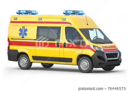 Ambulance car isolated on white. 76446573