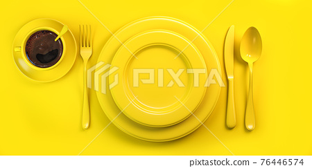 Top view of yellow plate, fork, knife, spoon and cup of coffee on yellow grunge table. 76446574