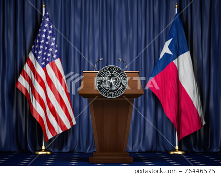 Press conference of governor of the state of Texas concept. Big Seal of the State of Texas on the tribune with flag of USA and Texas state. 76446575