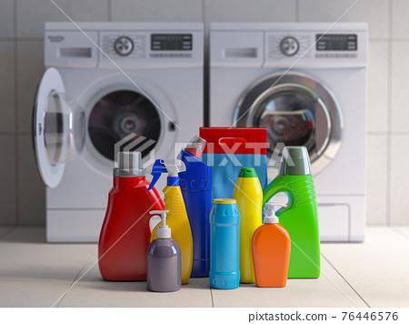 Washing machine, detergent bottles and powder. 76446576
