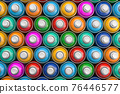 Top view of colorful graffity spray paint cans or bottles of aerosol. 76446577