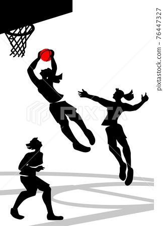 Vector illustration of women's basketball in silhouette design. 76447327