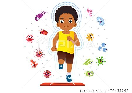 African boy running to good healthy. 76451245
