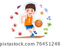 Asian boy play basketball to good healthy. 76451246