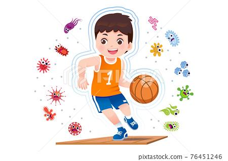 Asian boy play basketball to good healthy. 76451246
