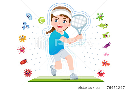 European girl play tennis to good healthy. 76451247