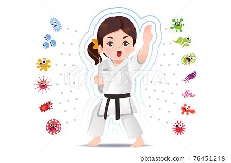 Asian girl practice judo to good healthy. 76451248