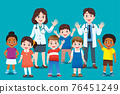 The doctor invites international kids group to come for annual health checkup. 76451249