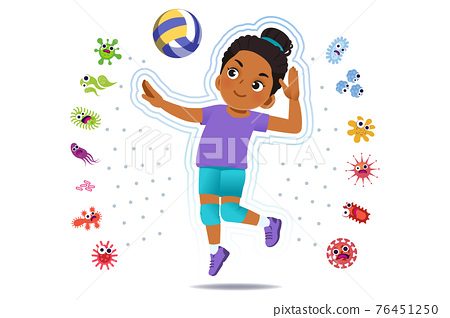 African girl play volleyball to good healthy. 76451250