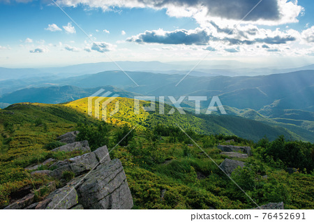 alpine meadow of carpathian mountains in summer. view in to the distant valley in afternoon light. beautiful sunny nature landscape with clouds on the sky 76452691