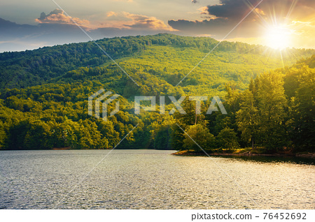 lake among beech forest in summer at sunset. beautiful nature landscape in mountains. vihorlat national park in evening light 76452692