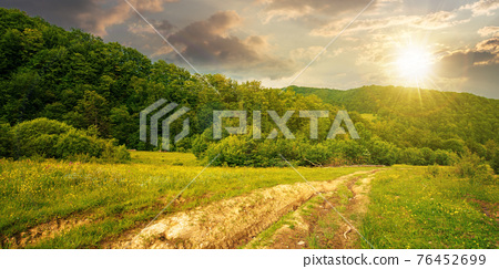 dirt road through forested countryside at sunset. beautiful summer rural landscape in mountains. adventure in nature scenery in evening light 76452699