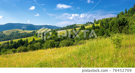 rural landscape in summer. beautiful nature scenery with fields on the hills rolling in to the distant valley. wonderful sunny weather with fluffy clouds on the sky 76452709