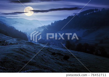 valley on the foggy night. village in the distance. grass and flowers on the hill in full moon light. beautiful countryside scenery. dark clouds on the sky 76452711