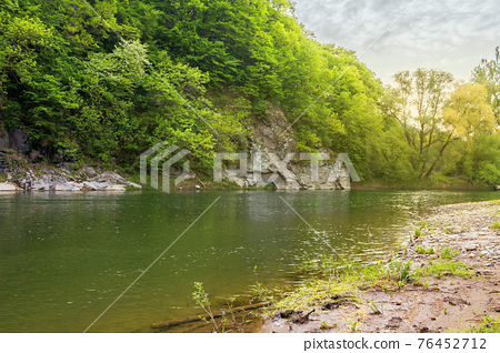 river flow under the rock. beautiful nature landscape in spring. deciduous trees on the shore 76452712