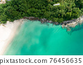 Amazing aerial view drone shot of beautiful mountain seashore with tropical sea Turquoise water in summer season Location around Phuket island Concept travel and tour background and travel website 76456635
