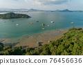 Aerial view bird's eye view photo of beautiful small island in tropical sea Koh Tapao Yai in Phuket Thailand,Amazing archipelago around Phuket Island and Sailing boats,yacht boats To travel in Phuket 76456636
