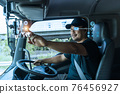 Truck driver find their location on  digital map. 76456927