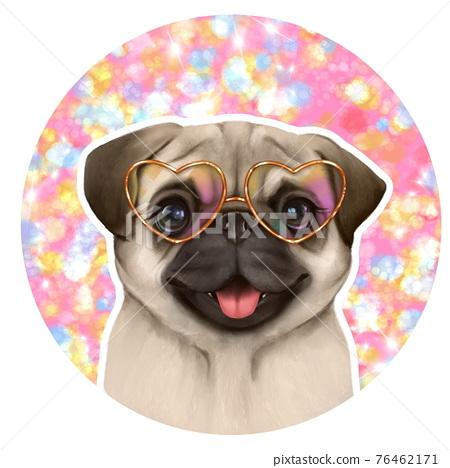 Portrait of Cute Pug Dog in glasses. Pet portrait 76462171