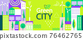 Green city banner in simple geometric flat style. 76462765