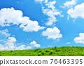 여름의 푸른 하늘과 신록의 초원 풍경 76463395