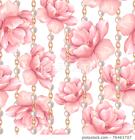Seamless pattern, pink flowers and gold chains. Floral pattern, watercolor style 76463787