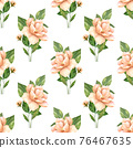 Seamless pattern with yellow flowers on white background. Floral pattern 76467635