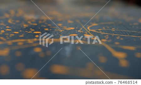 abstract oil color yellow color splatter paint on dark blue texture background. color paint texture background design 76468514