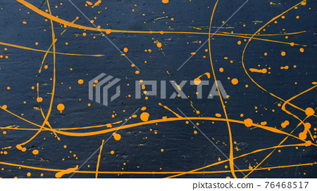 abstract oil color yellow color splatter paint on dark blue texture background. color paint texture background design 76468517