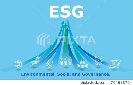 ESG插圖圖像,箭頭和圖標,矢量素材 76468879