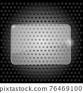 Glossy blank horizontal 3D rectangle, Transparent frame on dark background. Abstract plane on steel texture. Jpeg 76469100