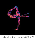 Creative silhouette of gymnastic girl. Art gymnastics with clubs 76471571